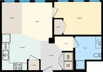 One Bedroom / One Bath - 602 Sq. Ft.*