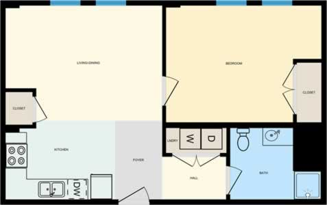One Bedroom / One Bath - 637 Sq. Ft.*