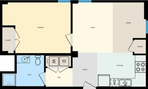 One Bedroom / One Bath - 639 Sq. Ft.*