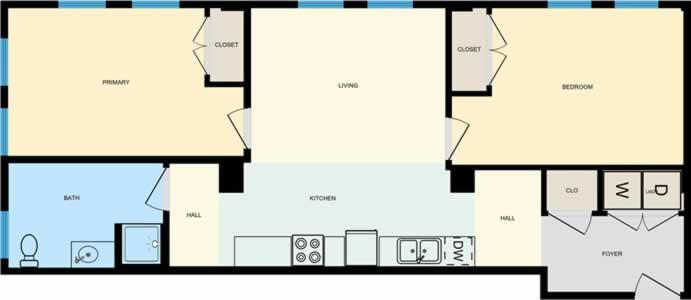 Two Bedroom / One Bath - 885 Sq. Ft.*
